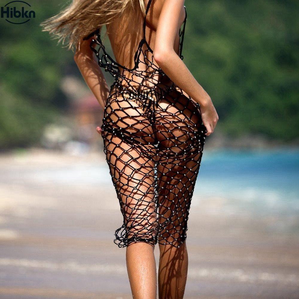Handmade Beaded Crochet Fish Net Cutout Crop Top Bikini Beach Cover Up Vest Hot