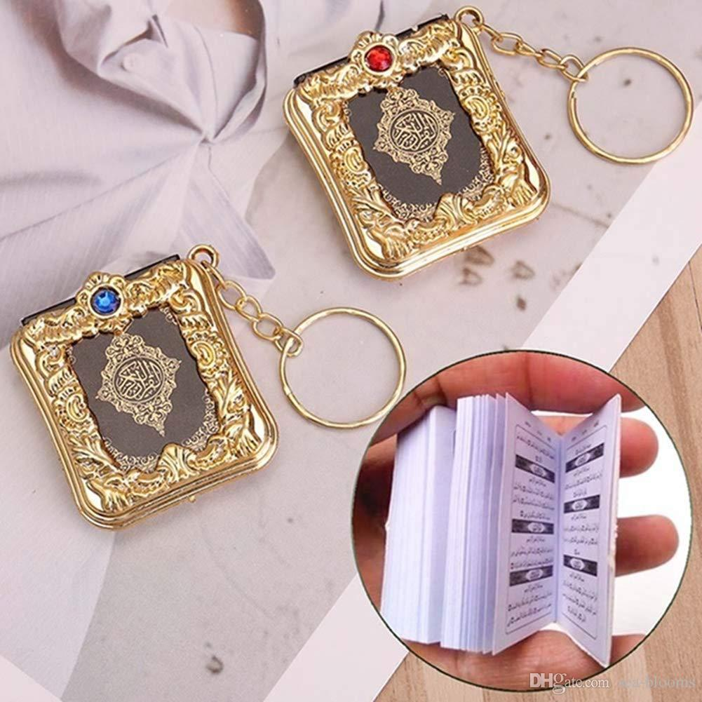 Musulmanes llavero Mini Arca Corán libro llavero árabe OPP pendientes dominantes Accesorios Crafts Llaveros joyería Soporte FBA envío de la gota M177F