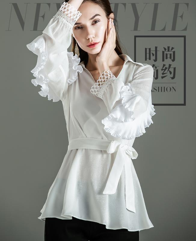 봄 새로운 디자인 감각적 인 느낌의 낮은 체포 flounces 셔츠 bowknot 허리 블라우스 긴 흰 셔츠 슬리브