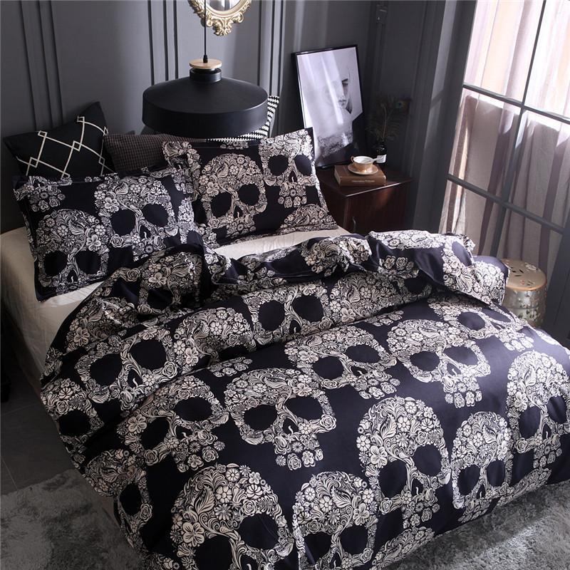 Black Color Duvet Cover Queen Size Luxury Sugar Skull Bedding Set King Size 3D Skull Beddings and Bed Sets