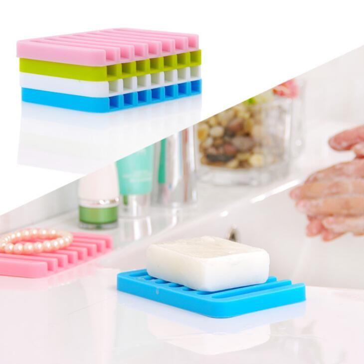 Multicolor Água Drenagem Anti Skid Soap Box Silicone Sabão Pratos de casa de banho saboneteiras Caso Início Bathroom Supplies 16 cores LX2177