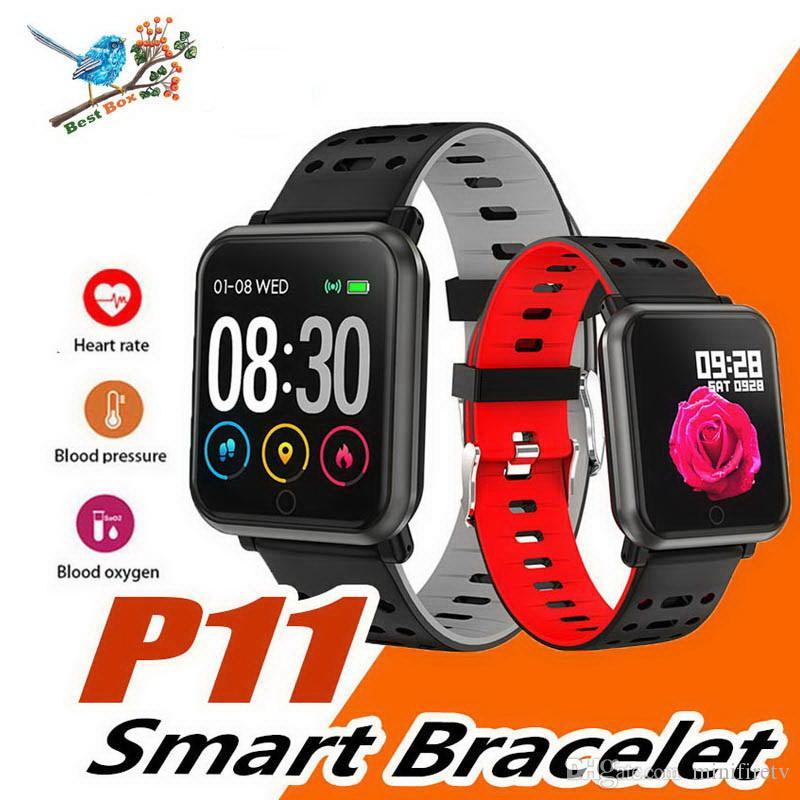 Smart portable dispositif P11 montre intelligente téléphone portable pour hommes et femmes moniteur de fréquence cardiaque étanche moniteur de pression artérielle sport montre intelligente
