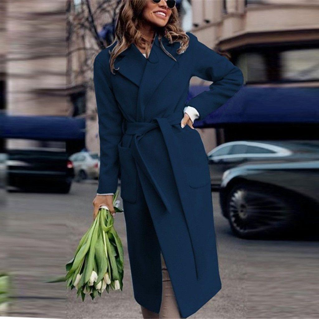 إمرأة شتاء طية صدر السترة الصوف معطف الخندق عارضة أنثى الجيب دافئ حزام الصلبة لونغ ألبسة التنزه المعطف القمم #Zer