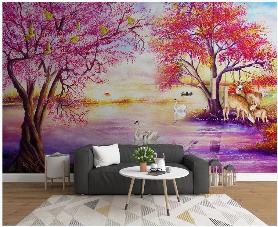 Gewohnheit Foto 3d europäischen Öl Tapete Wald großer Baum Elch Schwanensee Wohnzimmer Wohnkultur 3D Wandbilder für die Wände 3 d Tapeten Maler