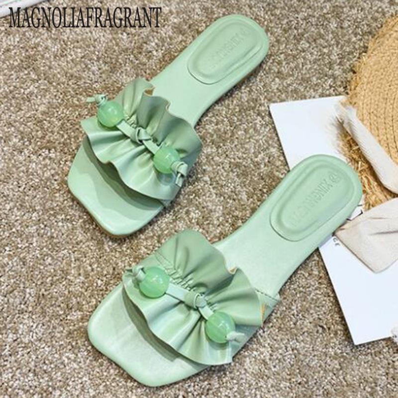 scarpe da donna di nuova estate Quadrato Testa Pantofole donna Slip On diapositive all'aperto sulla spiaggia scarpe basse Accogliente casual sandali punta aperta hy730