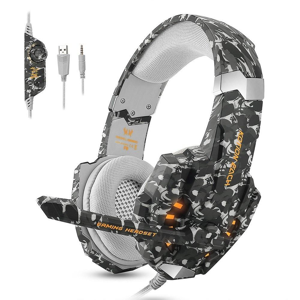 Over-Ear Wired Gaming Headset Headphones with Mic LED Lights for Laptop Mac PC Computer PS4 Xbox One Tablet
