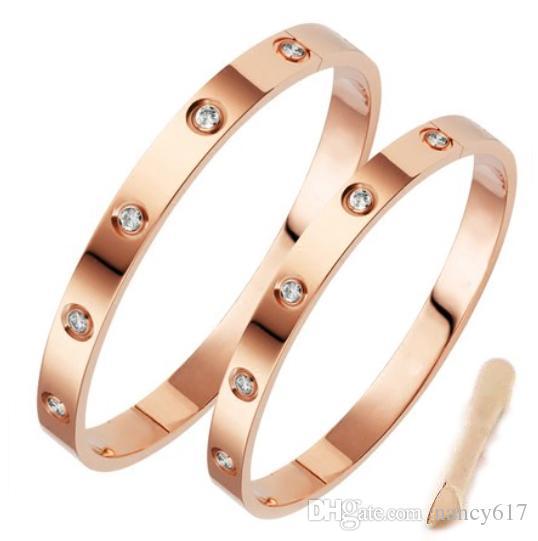 Classic luxury designer jewelry women bracelet with crystal mens gold bracelets stainless steel 18k love bracelet screw bangle bracciali