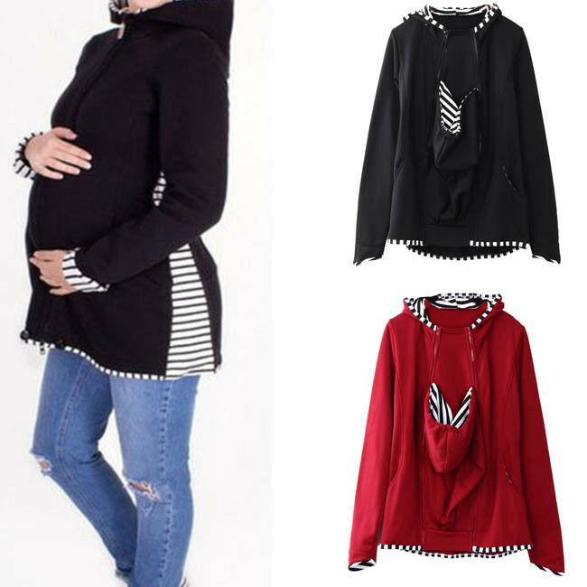 1PC invierno caliente mamá Sweatershirt porta bebé canguro chaqueta de abrigo de maternidad Escudo mujeres embarazadas S-2XL