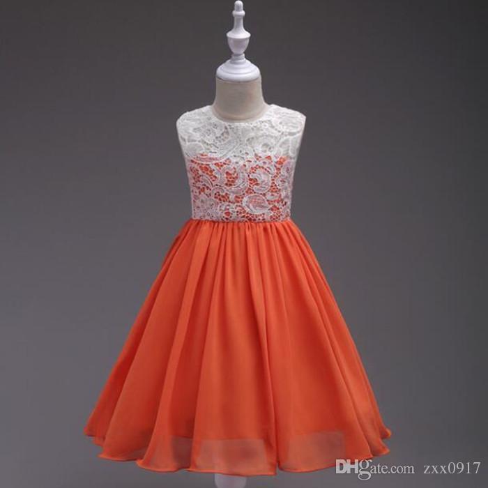 새로운 스타일 여자 드레스 패션 레이스 민소매 조끼 공주 드레스 8 색 베이비 키즈 파티 웨딩 신부 들러리 드레스