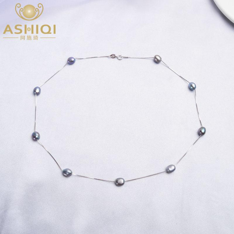 ASHIQI Baroque Natural Pearl Necklace For Women with 925 Sterling Silver Chain 6-7mm Freshwater Pearl Fashion Jewelry