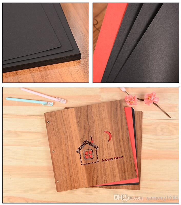 10.2 x 10.2 Inch DIY Scrapbook Photo Album with Cover 30 sheets Black Craft Paper for Guest Book, Anniversary, Valentines Day Gifts