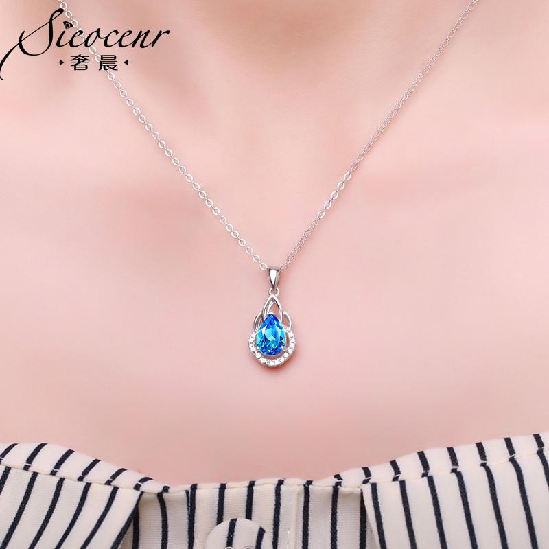 S925 серебро натуральный голубой топаз ожерелье Девочка Подвеска цепь