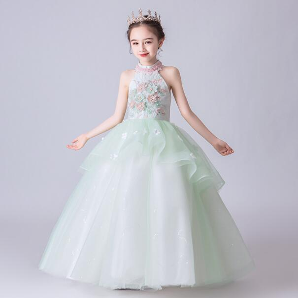 2020 Новый Свет зеленый кружева платье девушки цветка для Birthday Party Wedding бисером блесток Тюль принцессы бальное платье для первого причастия платье