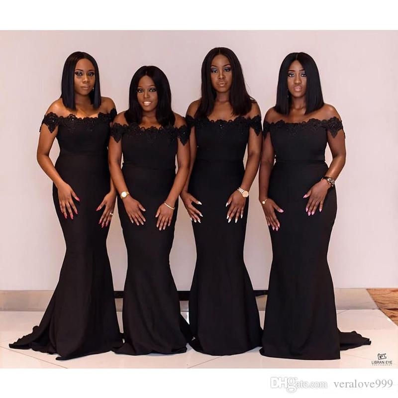 Black 2020 Designer Mermaid Bridesmaid Dresses Off Shoulder Lace Applique Sequined Beads Maid Of Honor Dress Prom Dresses Wear