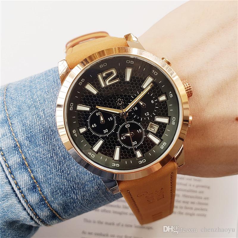 Top Marca New Moda Casual Homens do Exército Negócios Quartz Assista movimento Luxo Militar Leather Strap Chronograph Men Watch Relogio Masculino
