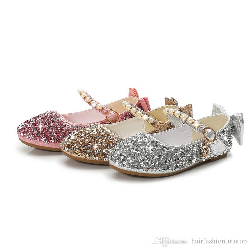 Girls Summer Shoes Toddler Girl Baby Sandals Glitter Pearl Strap Princess Ballerinas Flat Shoes for Wedding Party Dress UP Costumes Shoes