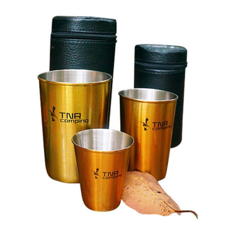 Copo de Vinho Copo de Cerveja Beber Taças Set Copa do saco de armazenamento ao ar livre de aço inoxidável portátil cor sólida