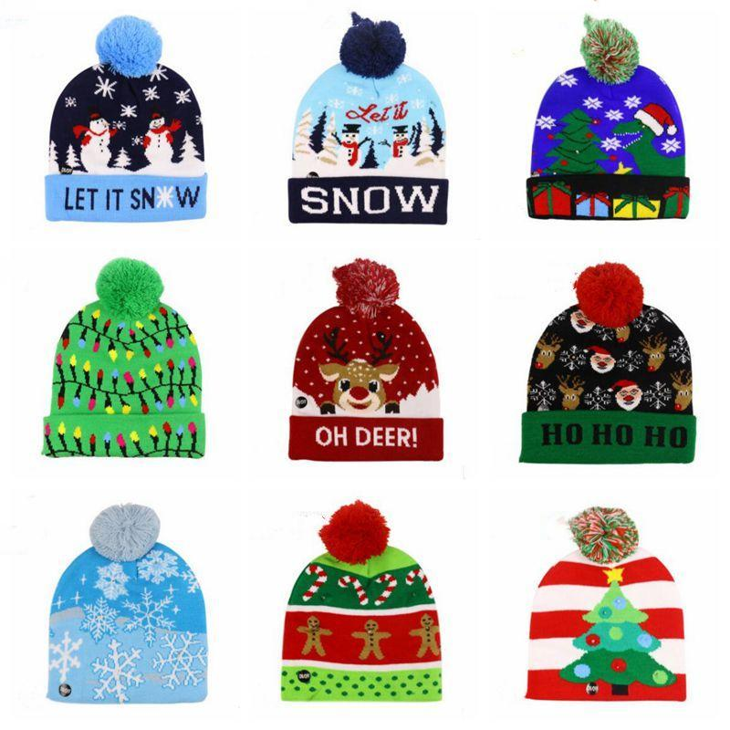 Xmas Crochet Skull Caps Hats LED Christmas Beanie Lighting Pom Hats Kids Snowflake Knitted Hat Adult Lights Knitted Ball Headgear AZYQ6797