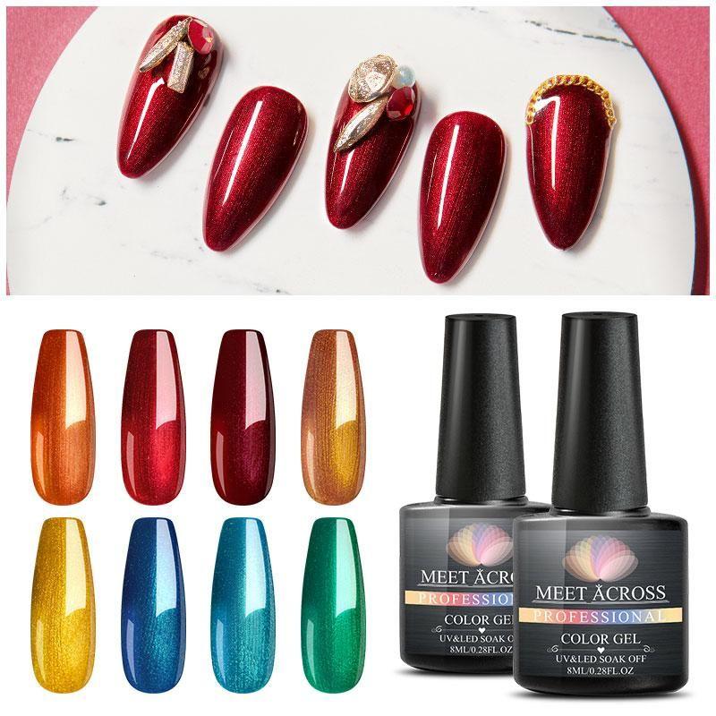 MEET ACROSS chiodo di colore metallico del polacco del gel per unghie lacca opaca del gel UV Necessità Matte Top Coat manicure fai da te gel del chiodo vernice di arte