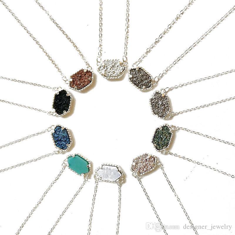 جديد druzy حجر قلادة قلادة للنساء هندسية شفاء الحجر الطبيعي سلاسل الفضة الأزياء والمجوهرات بكميات كبيرة