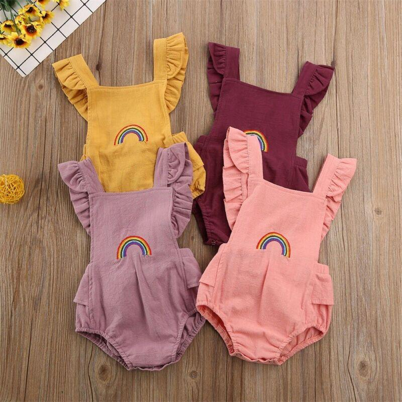 PUDCOCO Newborn Baby Boy Girl Fly Sleeve Square Collar Romper Jumpsuit Rainbow Bodysuit Outfits Knitted Cotton Clothes Sunsuit