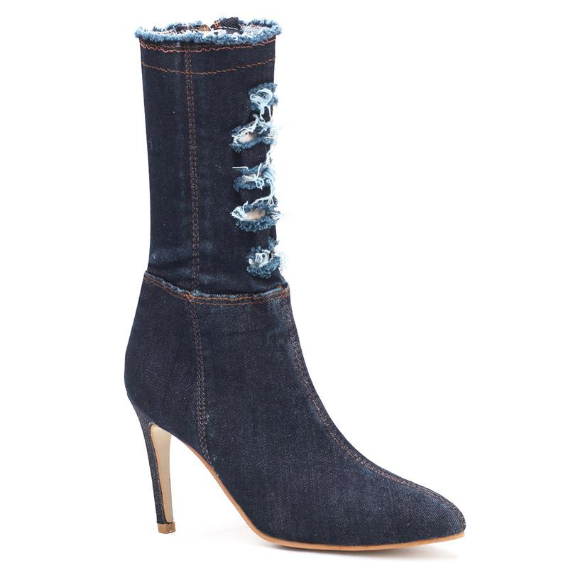 2019 European and American fashion women's trend stiletto cowboy boots wild pointed comfortable high heel women's boots.