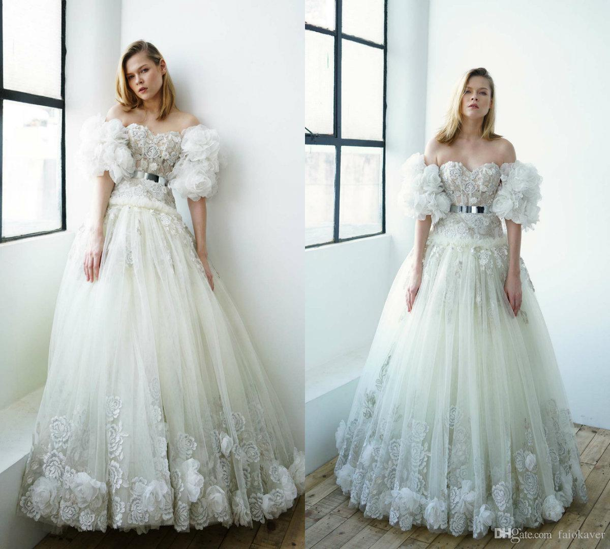 Flower Prom Dresses 2019 Full Lace Appliqued A Line Short Sleeves Sweetheart Evening Gowns Floor Length Fairy Party Dress