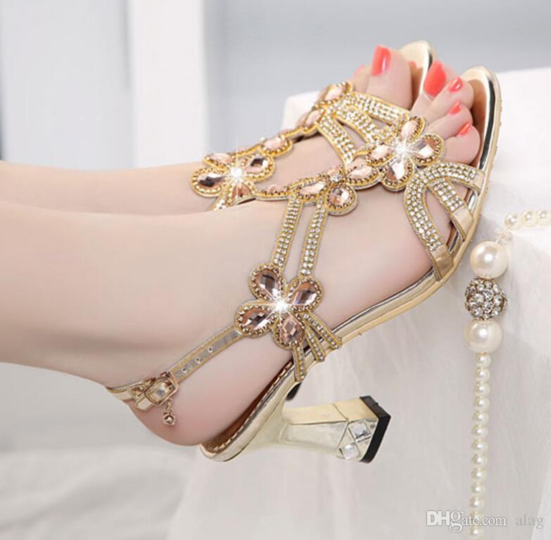 Strass Mulheres Sandálias De Couro Genuíno Verão Sandálias Dedo Aberto Do Dedo Do Salto Grosso Sapatos de Salto Alto Azul Ouro Mulheres Sapatos de Gaze NXX109