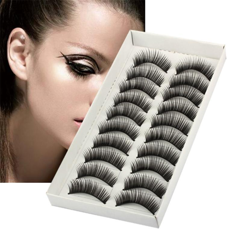 10 Pairs Natural Long Thick Black False Eyelashes Charming Eye Lashes Makeup Pestanas fashion 2019