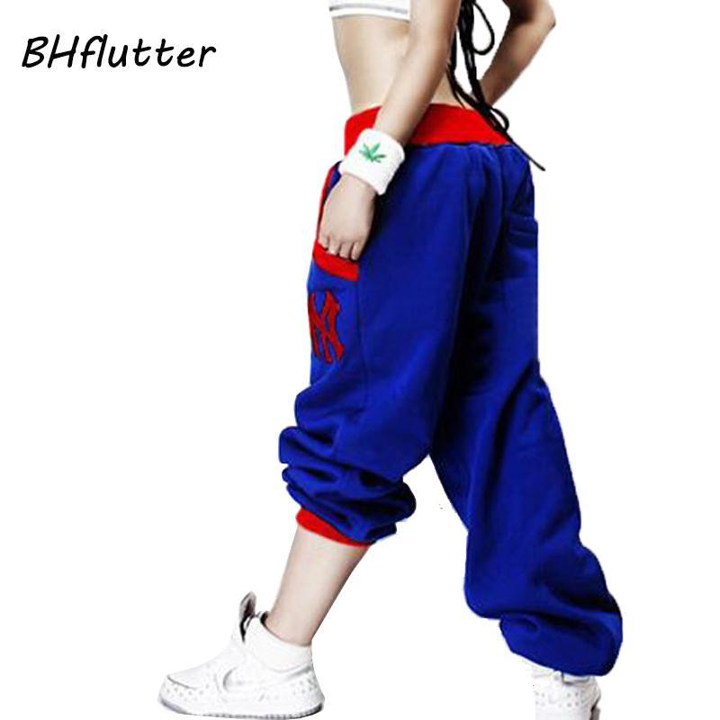 BHflutter pantalones de las mujeres 2018 del bordado pantalones casuales Hip Hop flojo elástico de cintura baja para mujer primavera invierno Pantalones Harem Pantalones Y200418