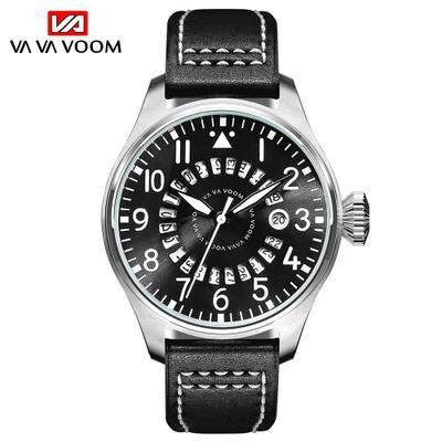 Casual Desportivo VAVA VOOM Men Quartz Relógio de couro impermeável relógio calendário Moda Sports Watch Relogio Masculino