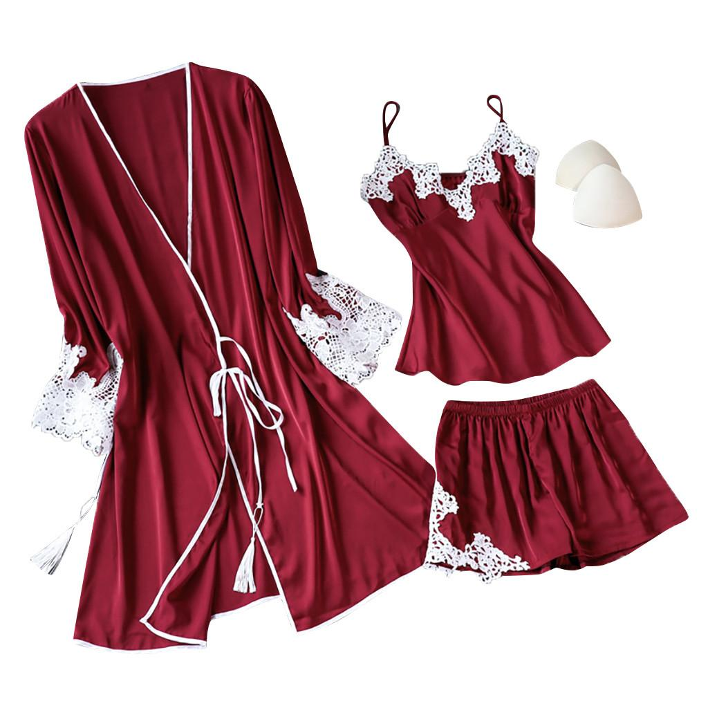 Sexy Lingerie Women Silk Lace Robe Dress Babydoll Sleepwear Nightdress Pajamas Set T Hot Sale Solid Color Home Clothes Femme New