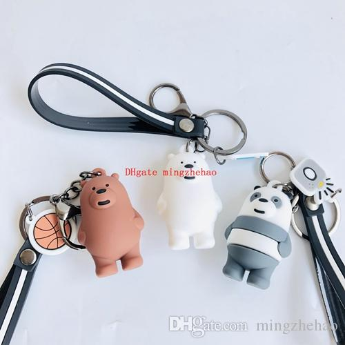 Lots 10 pcs Cartoon Bears Grizzly Cell Phone keychain Panda IceBear cute funny stereo bag pendant keyring llaveros porte clefs Jewelry gift