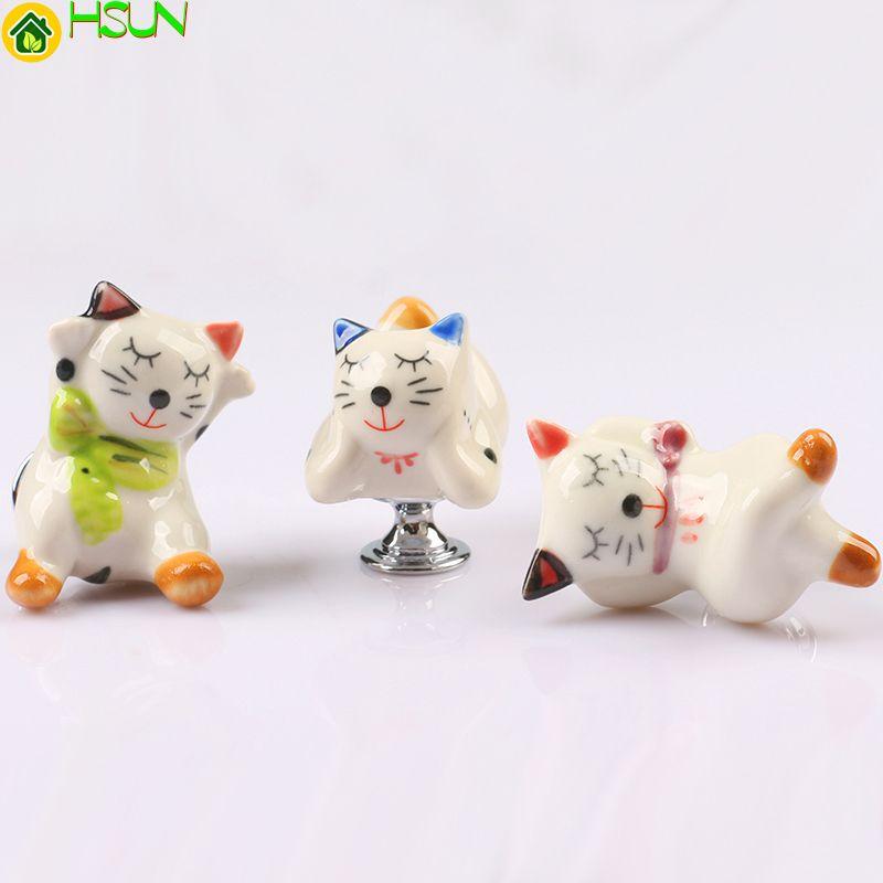 2 шт Childern номер керамические ручки ящика, мультфильм кошка дизайн фарфора комод шкаф дверная ручка тянет с винтом