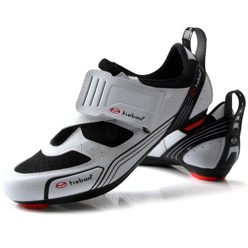 TIEBAO extérieur Route Chaussures de vélo Spinning Chaussures Classe vélo Triple sangles compatibles avec SPD, SPD-SL LOOK-KEO Cales