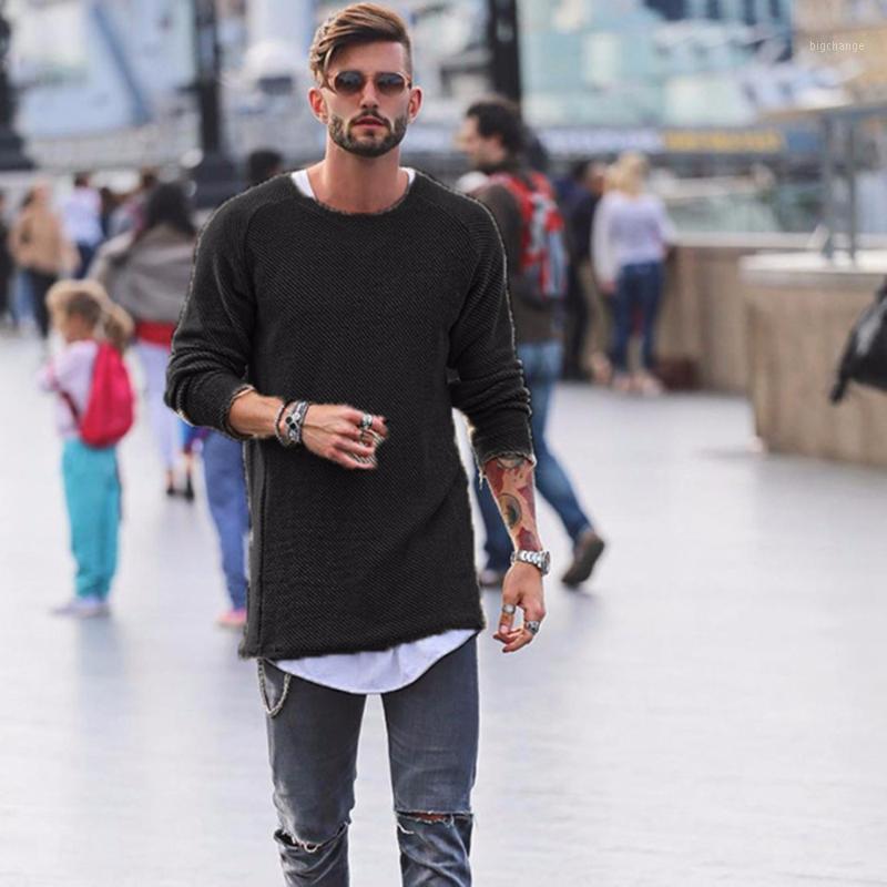 겨울 스웨터 남자 가을 풀 오버 슬림 맞는 솔리드 얇은 망 니트 스웨터 남성 컬 밑단 패션