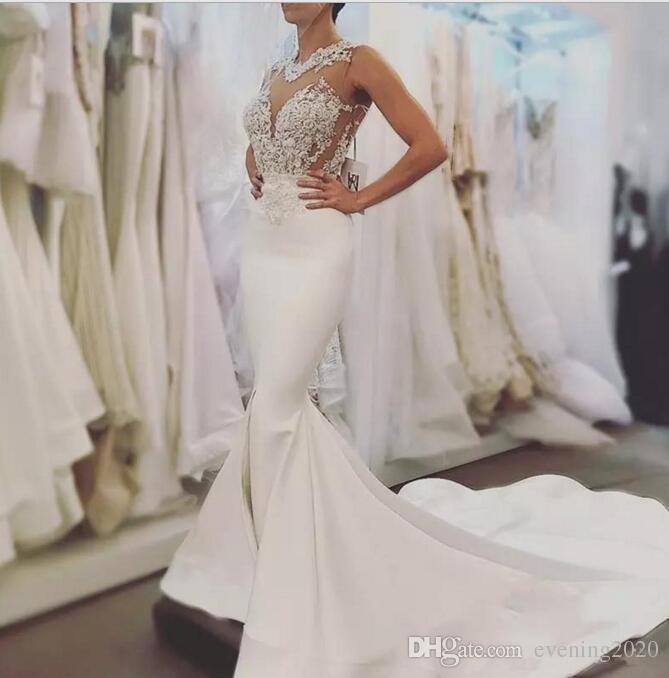 Sexy sirena pizzo abiti da sposa backless illusion corpetto appliques montato top da sposa abiti da sposa sweep treno custom made