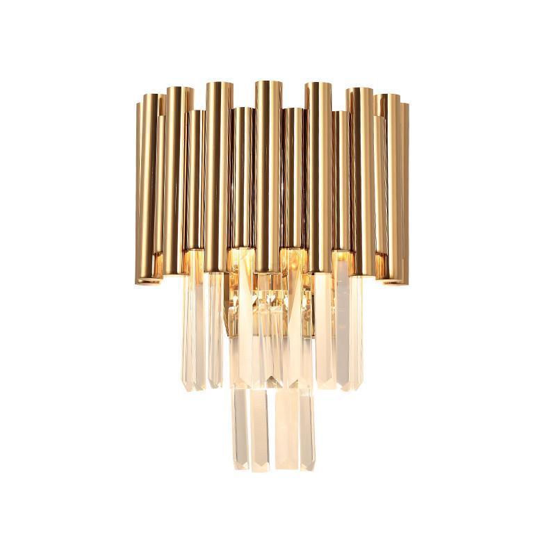 lüks altın duvar lambası, modern kristal aplik AC110V 240V Kristall-Wandleuchte oturma odası yatak odası LED ışıklar