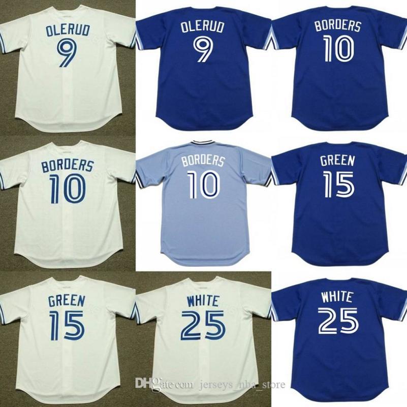 Erkekler 9 JOHN Olerud 10 PAT SINIR 15 Shawn YEŞİL 25 DEVON BEYAZ Toronto 1999 Beyzbol Jersey 02