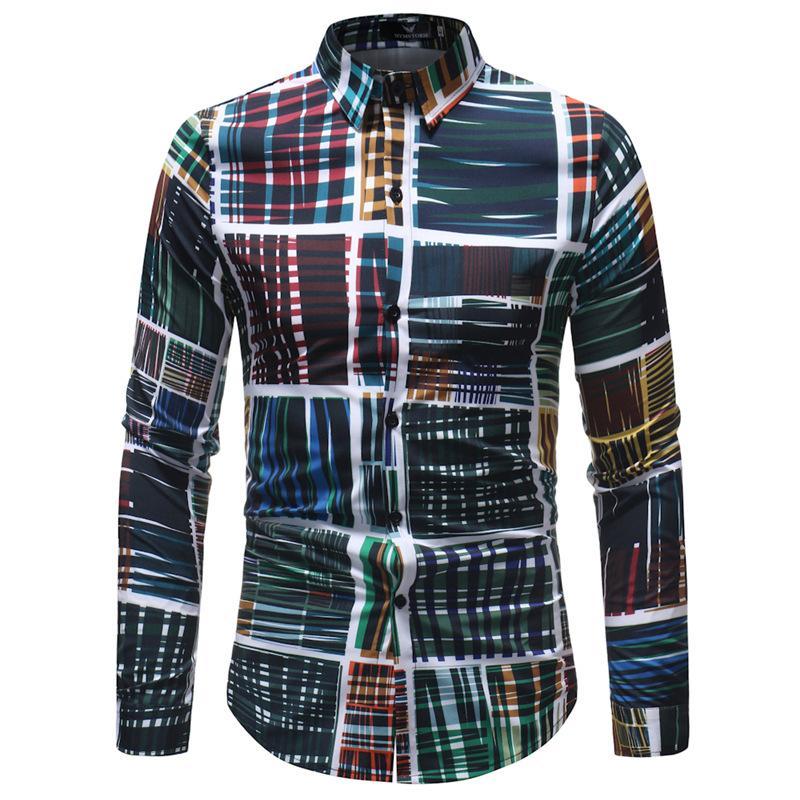 Homme Mode Imprimé Chemisier Design Slim Casual Formal Tops manches longues hommes Chemises Taille M-5XL A327