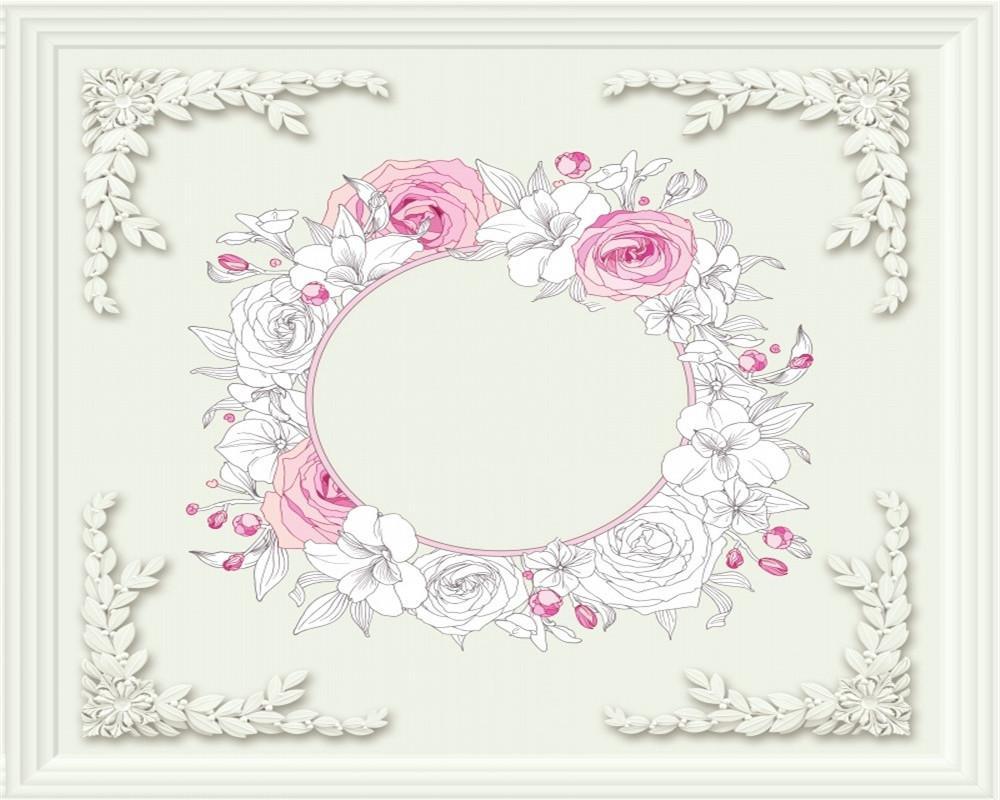 벽 종이 핑크 화이트 로즈 화환 거실 침실 제니스 장식 실크 벽화 벽지