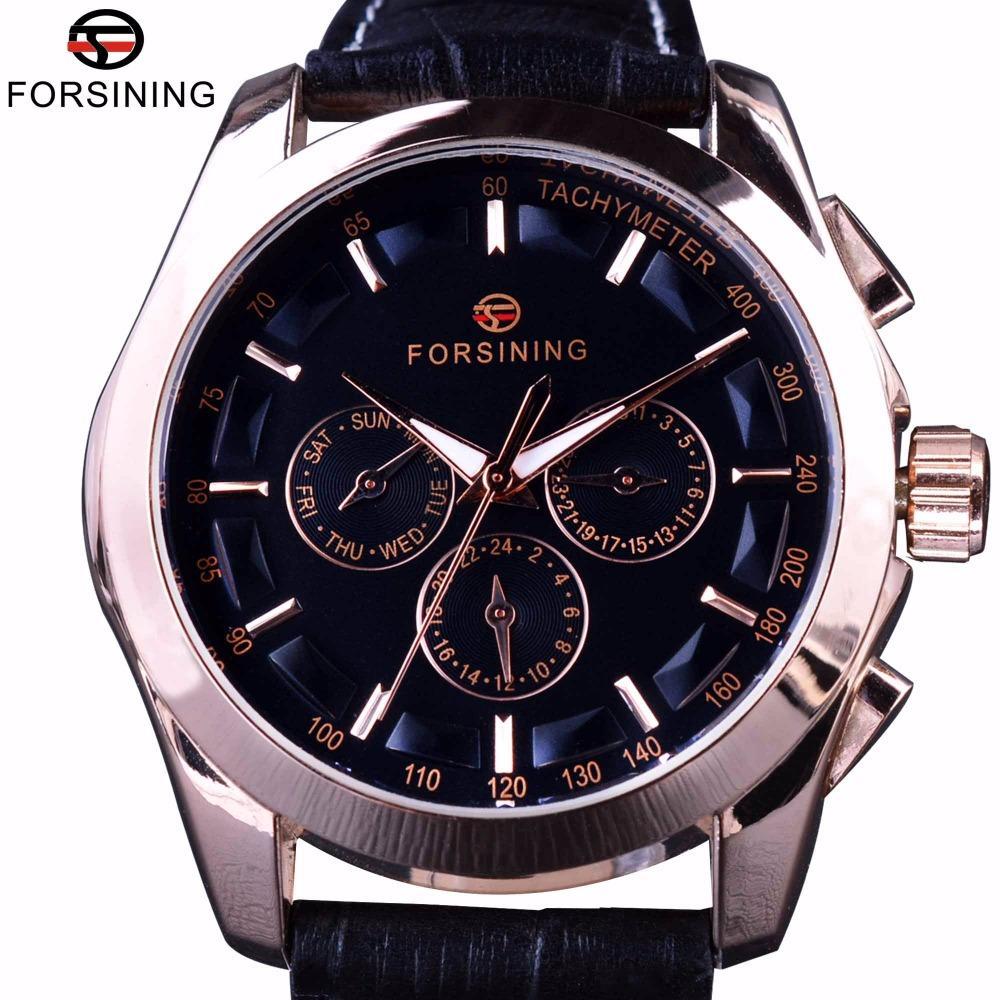 Forsining 2017 3 Disque 6 Mãos Rose Caso de Ouro Masculino Relógio de pulso de couro genuíno Banda Mens Watch Top Marca de luxo relógio automático