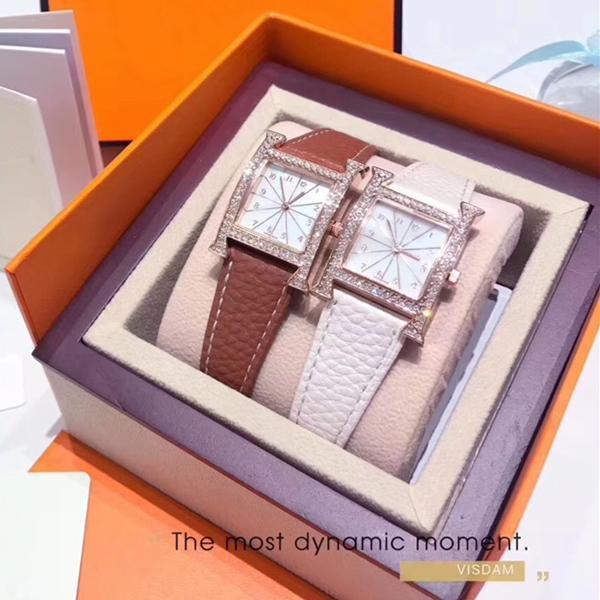 2020 Luxury Women Watches Leather Diamonds Ladies Fashion Quartz Watch Orange Dress Watch Clock Women Montre Femme Reloj mujer dropshipping