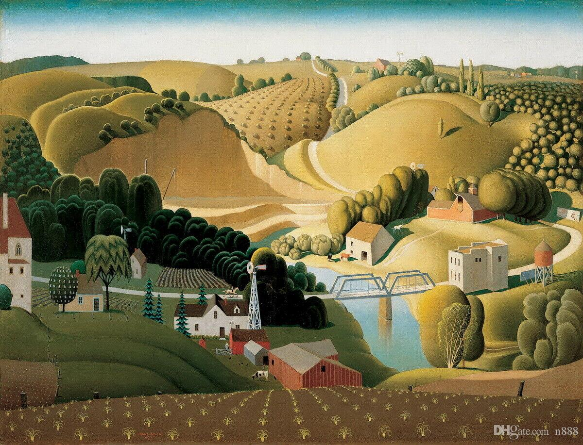 Grant Wood Stone City Iowa Home Decor Handpainted &HD Print Oil Painting On Canvas Wall Art Canvas Pictures 191109