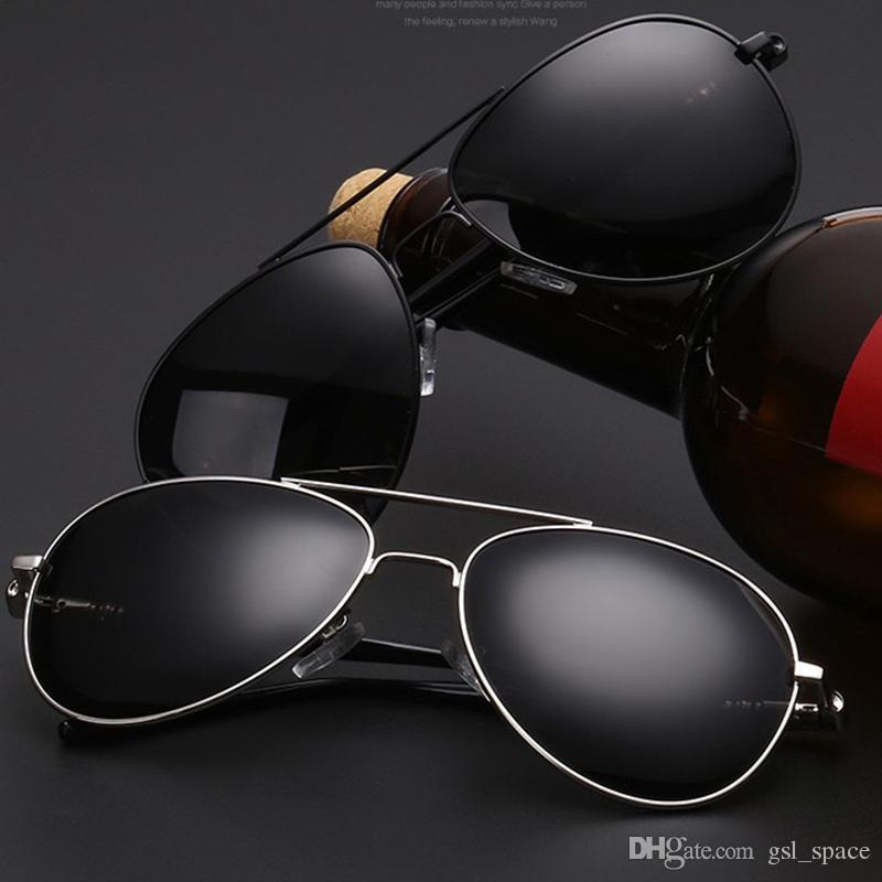 Havacılık Metail Çerçeve Kaliteli Boy Bahar Bacak Alaşım Erkekler Güneş Gözlüğü Polarize Marka Tasarım Pilot Erkek Güneş Gözlükleri Sürüş