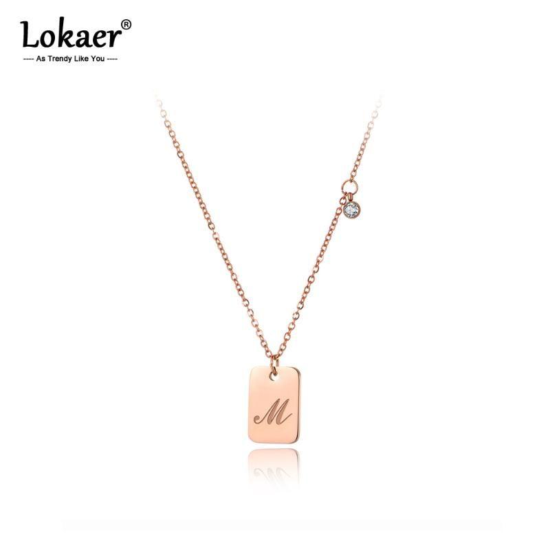 Кулон ожерелья Lokaer Оригинал титана из нержавеющей стали квадратный тег обмена Ювелирные изделия модные буквы M CZ Ожерелье для женщин N20036