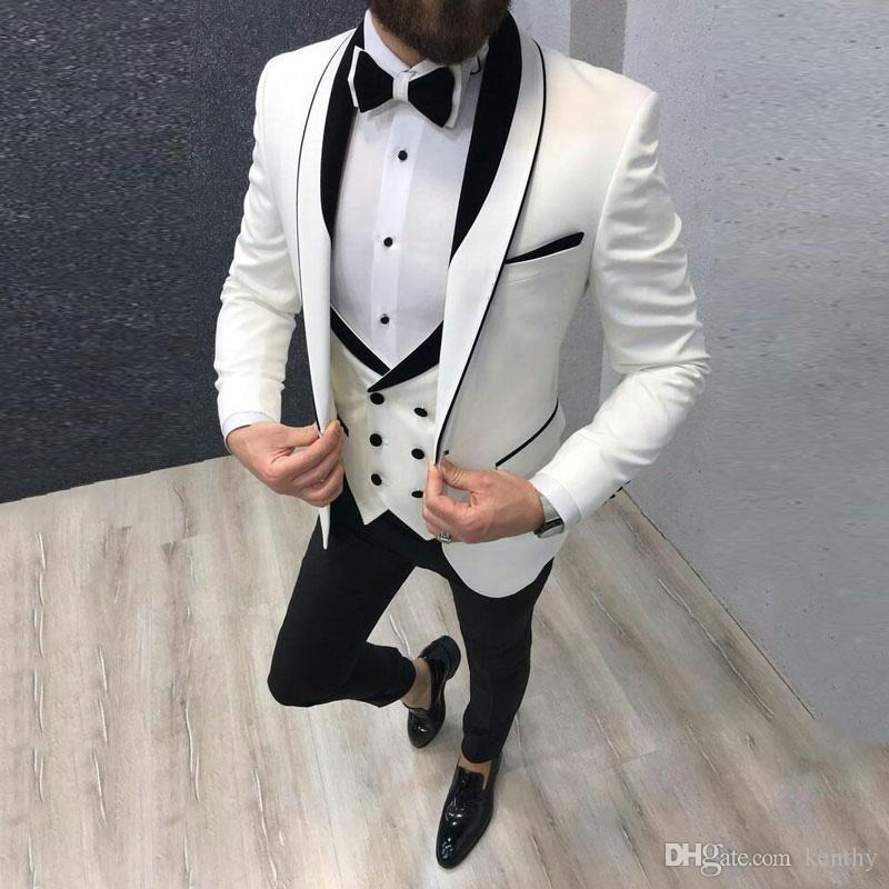 Son Coat Pantolon Erkek Düğün Damat smokin 3piece Erkek Blazer Kostüm Homme Mariage Slim Fit Terno Masculino için Beyaz Suits Tasarımları