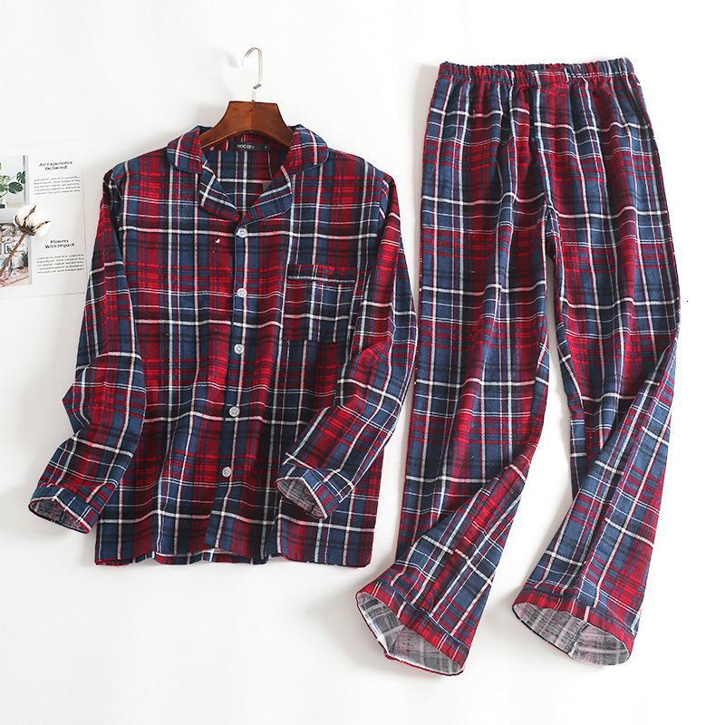 Homens de algodão de 100% para novos Autumnwinter de mangas compridas Calças Pijama Suit Red de flanela xadrez Pijamas veludo macio Roupa Set V191109