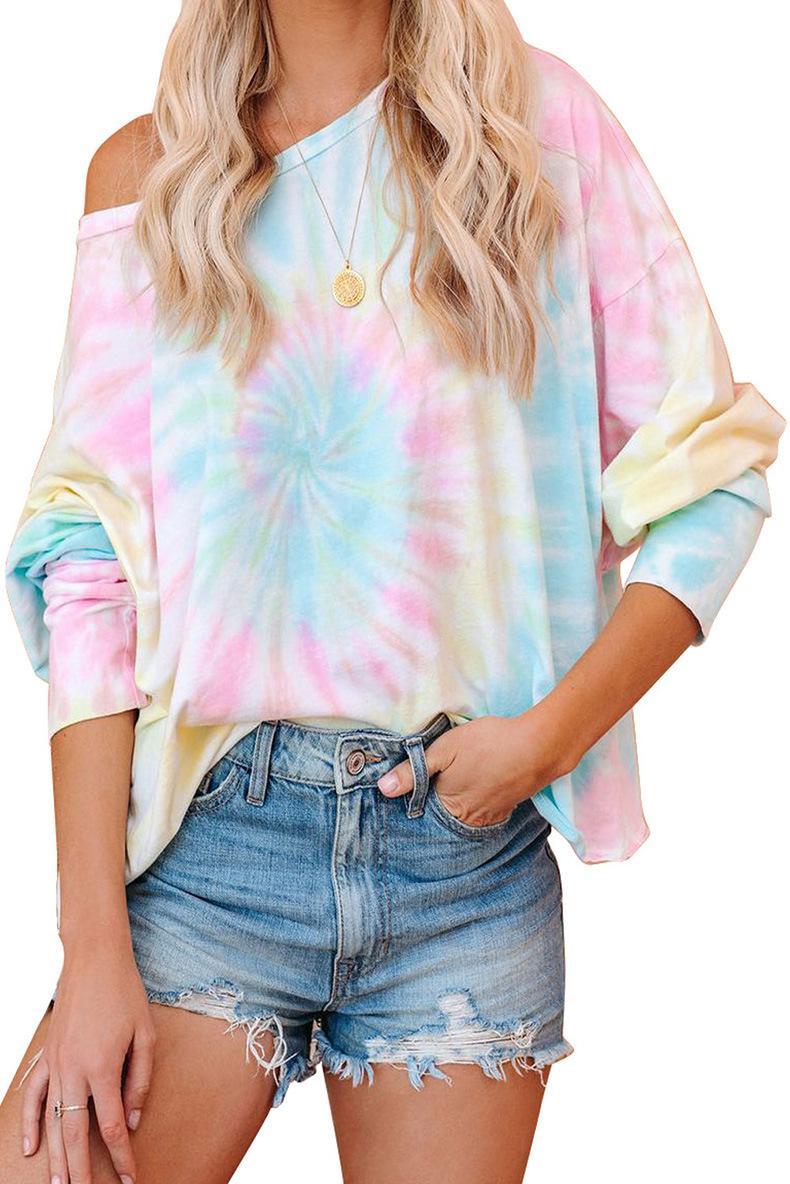 DHL para pijamas Tiedye para las señoras del cuello barco del teñido anudado de pijama corto Define blanco barato de camisas para tinte del lazo Hyper carmesí? Newclipper cLMWt