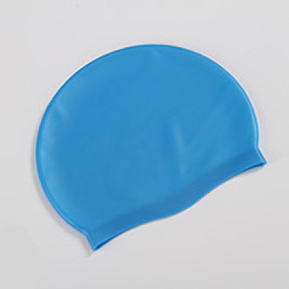 Suave silicone natação Waterproof Caps Ears proteger o cabelo longo Sports Swim Piscina Cap Hat para as Mulheres Homens Adultos